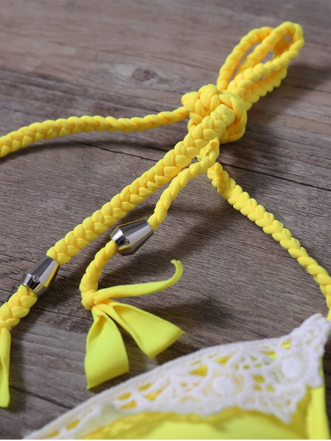outfit Lace Panel Side Tie Rope Bikini Set - YELLOW M Mobile