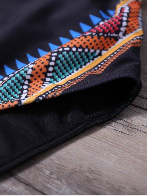 Costume de bain entrecroisé à motif tribal cami - Noir L Mobile