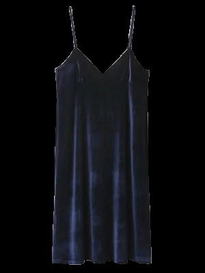 Terciopelo Vestido Del Resbalón Cami - Azul Purpúreo M