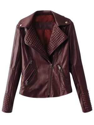 Zippered Lapel Collar Biker Jacket - Dark Red S