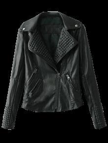 Zippered Lapel Collar Biker Jacket - Black S