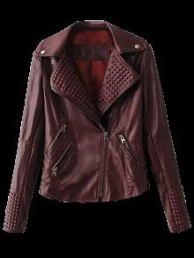 Zippered Lapel Collar Biker Jacket - Dark Red S