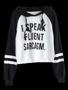 Text Print Cropped Pullover Hoodie - White And Black M