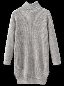 Buy Side Slit Turtleneck Heather Sweater - GRAY ONE SIZE