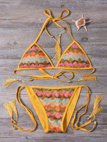 Strappy Tassel Crochet Panel Bikini Set - Ginger M