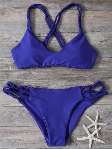 Crisscross Braided Strap Thong Bikini - Blue S