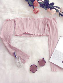 Blusa Corta De Hombros Al Aire Con Volantes  - Rosa