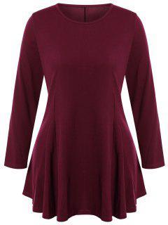 Plus Size Long Sleeve Short A Line Dress - Claret 4xl
