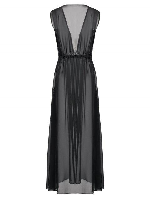 fashion Sleeveless Drawstring Beach Maxi Dress - BLACK S Mobile