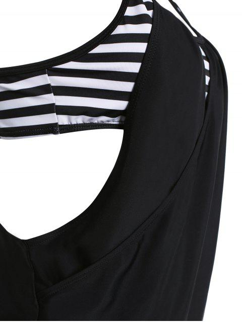 shops Striped Spaghetti Strap Blouson Tankini Bathing Suits - BLACK S Mobile