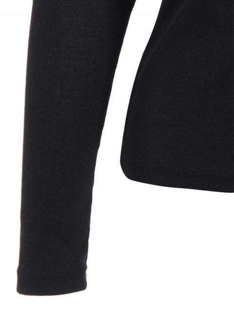 unique Scoop Neck Strappy T-Shirt - BLACK L Mobile