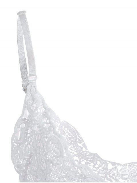 outfit Plunge Neck Sheer Lace Cami Top - WHITE ONE SIZE Mobile