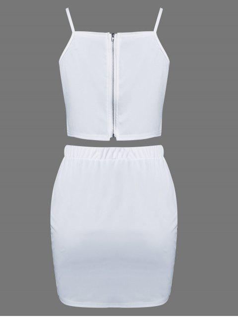 women's Floral Embroidered Zippered Top with Skirt - WHITE S Mobile