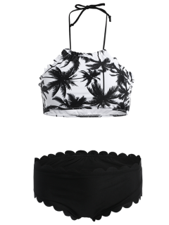 Coconut Palm Halter Scalloped Bikini - White And Black M