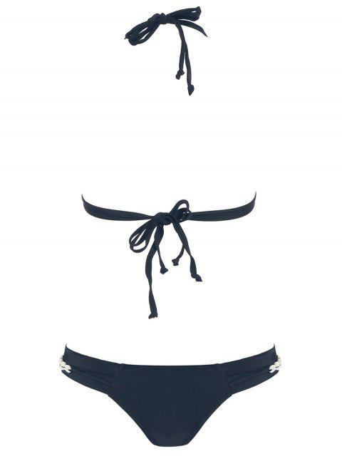 fashion High-Cut Seashell Strap Bikini Set - BLACK M Mobile