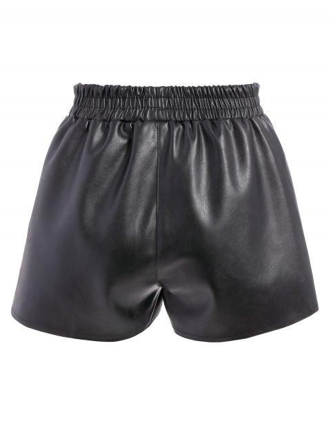 sale Elastic Waist Faux Leather Shorts - BLACK S Mobile