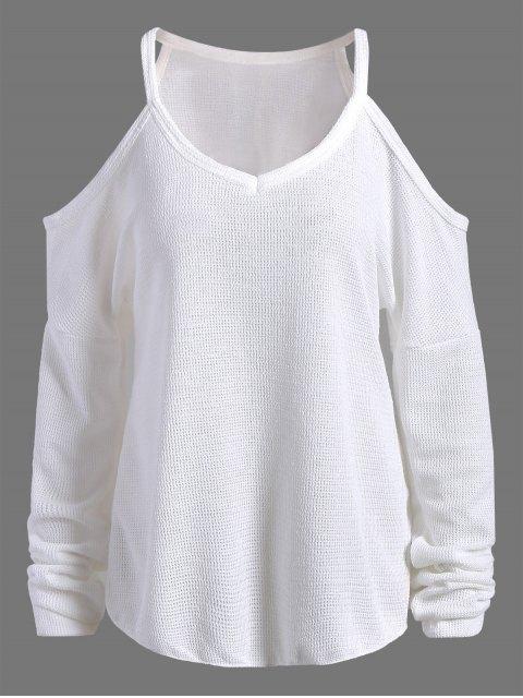 women's Cami Cold Shoulder Knitwear - WHITE M Mobile