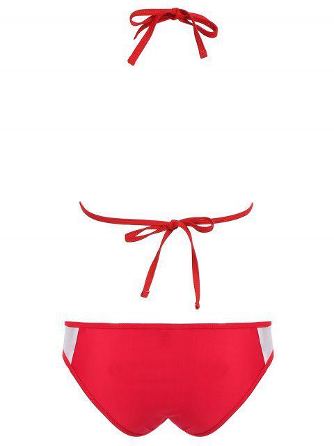 ladies Color Block See-Through Halter Bikini Set - RED XL Mobile