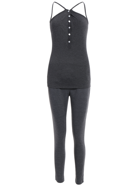 women Cami Top With Drawstring Pants With Hoodie -   Mobile