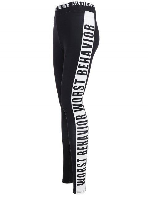 ladies Letter Print Color Block Sports Leggings - BLACK M Mobile