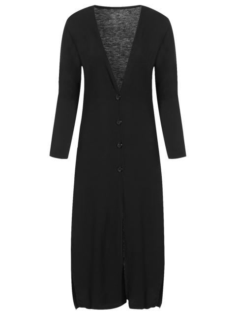 chic Long Fitting Buttoned Cardigan - BLACK S Mobile