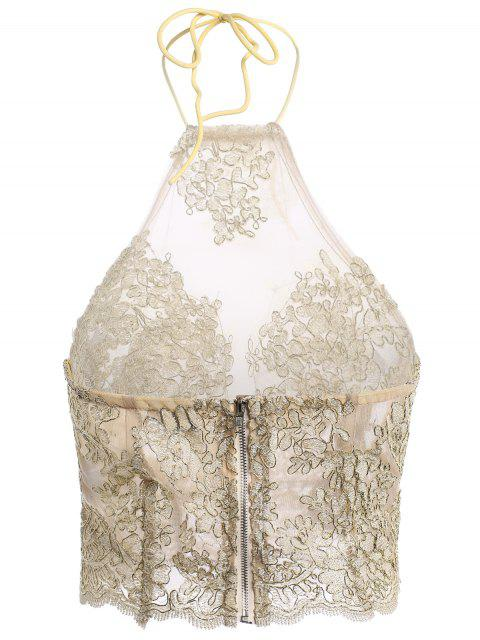 womens Embroidery Halter Lace Tank Top - TRANSPARENT S Mobile