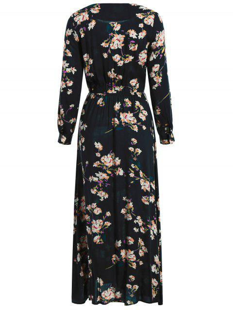 new Long Sleeves Maxi Floral Dress - CADETBLUE L Mobile