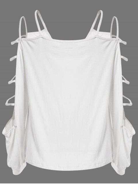 chic Scoop Neck Cutout Sleeve T-Shirt - WHITE XL Mobile