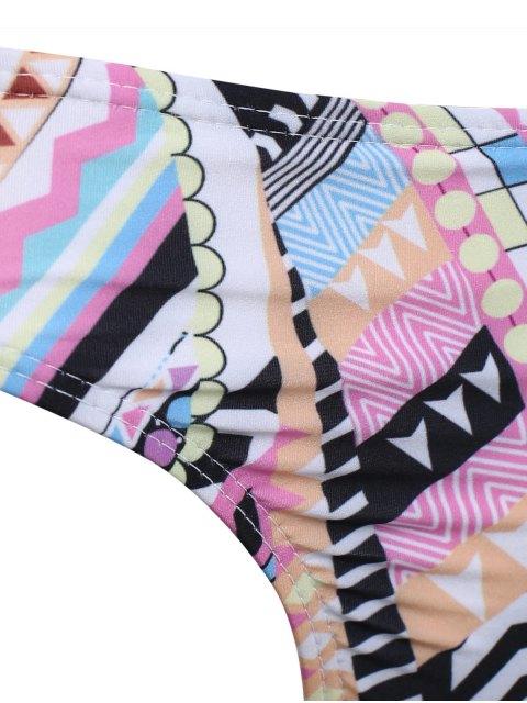 womens High Neck Criss Cross Geometric Bikini Set - PINK XL Mobile