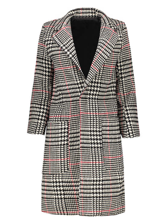 lady Lapel Houndstooth Coat - BLACK AND WHITE AND RED M