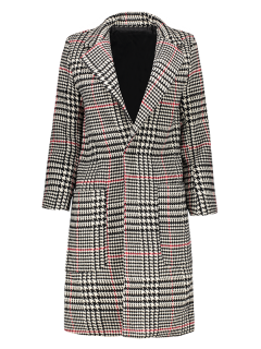 Lapel Houndstooth Coat - Black And White And Red L