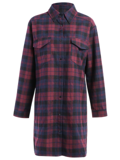 Plaid Flannel Shirt Dress With Pockets - L