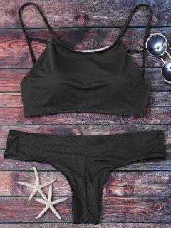 Cute Padded Criss Cross Bathing Suit - Black L
