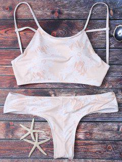 Criss Cross Printed Bikini Set - Apricot M