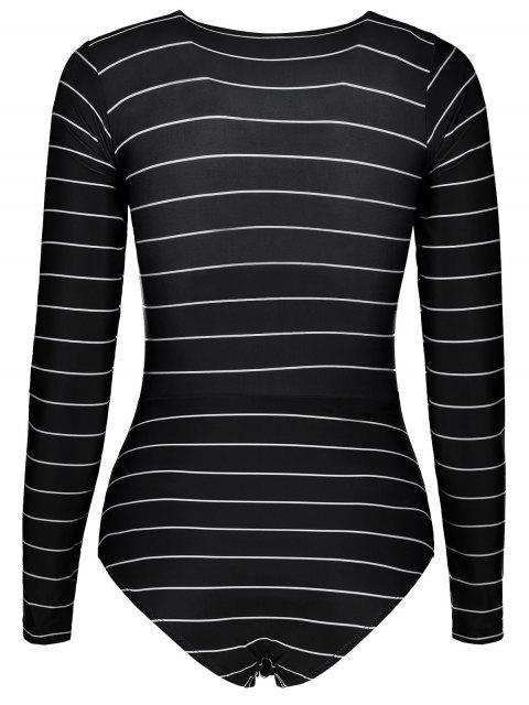 best Striped Lace Up Long Sleeve One Piece Swimsuit - BLACK S Mobile
