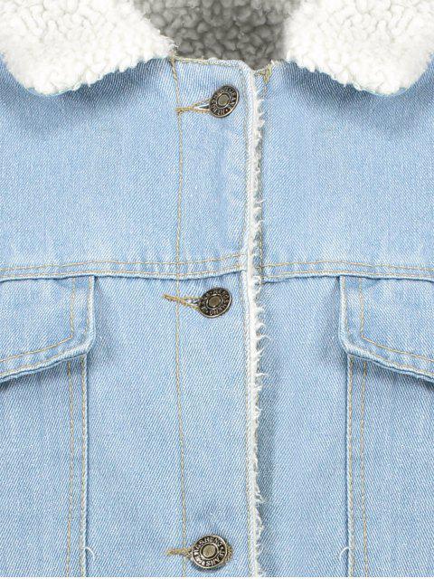fashion Faux Shearling Pockets Denim Coat - LIGHT BLUE S Mobile