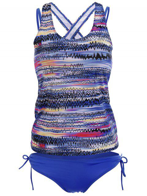 shop Backless Tankini Swimsuits - BLUE 2XL Mobile