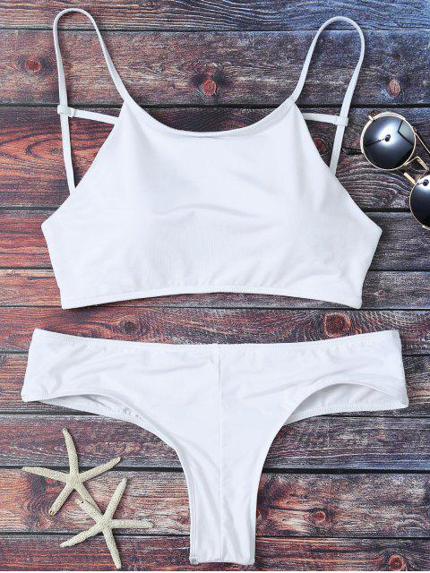 latest Cute Padded Criss Cross Bathing Suit - WHITE L Mobile