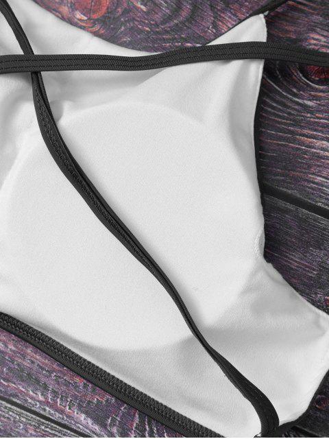 sale Cute Padded Criss Cross Bathing Suit - BLACK S Mobile