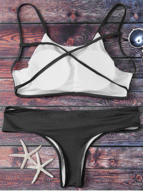 affordable Cute Padded Criss Cross Bathing Suit - BLACK M Mobile