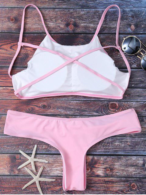 fancy Cute Padded Criss Cross Bathing Suit - PINK M Mobile