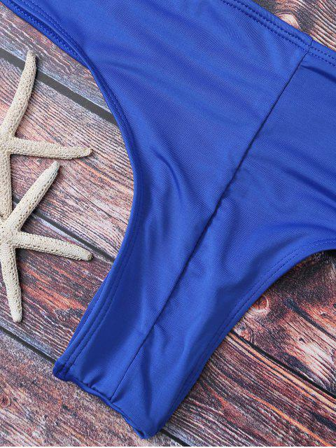 women Cute Padded Criss Cross Bathing Suit - DEEP BLUE S Mobile