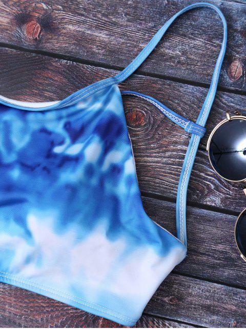 unique Ombre Criss Cross Bikini Set - DEEP BLUE XL Mobile