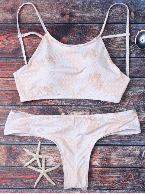 latest Criss Cross Printed Bikini Set - APRICOT L Mobile