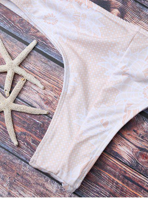 latest Criss Cross Printed Bikini Set - APRICOT L Mobile