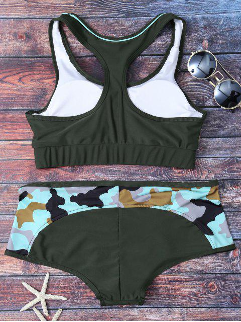 online Racerback Camo Swimsuits - ARMY GREEN XL Mobile