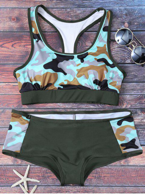 lady Racerback Camo Swimsuits - ARMY GREEN M Mobile
