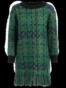 Heathered Fringed Sweater Dress - Green L