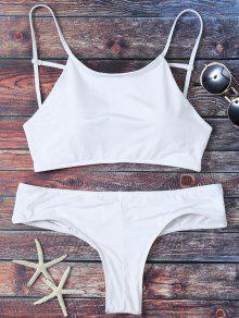 Cute Padded Criss Cross Bathing Suit - White Xl