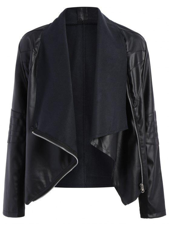 trendy Zippered PU Leather Jacket - BLACK M